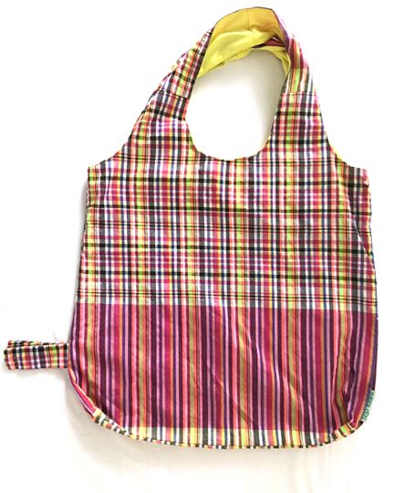 Scotch print foldable cotton grocery and beach bag