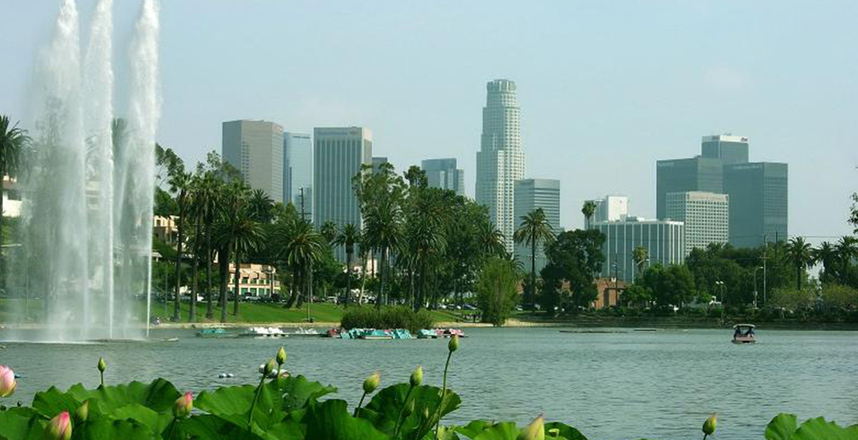 Views of the LA skyline and lake from Echo Park.