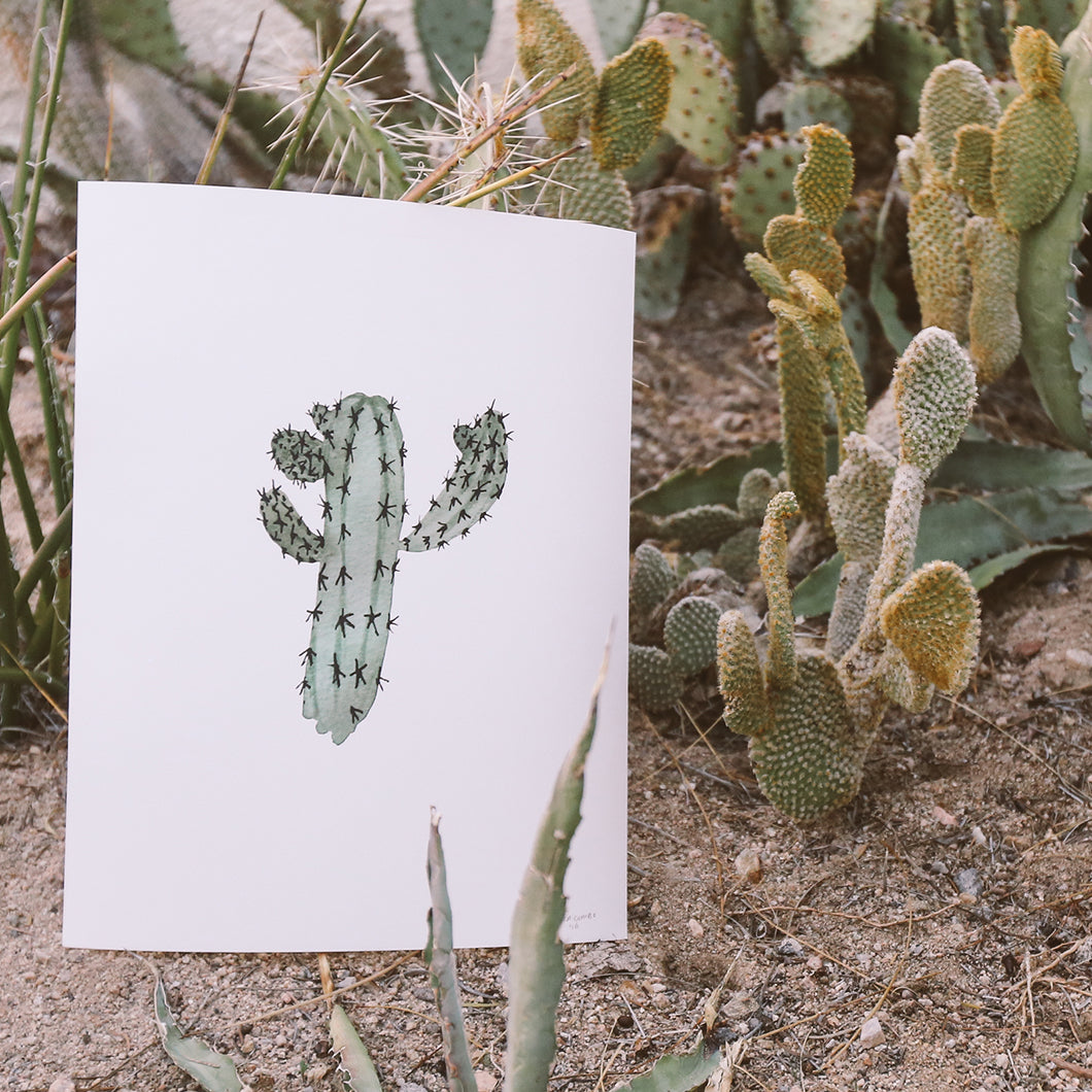 Blue Candle Cactus print for sale on AOS.