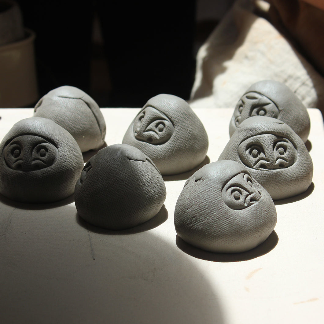 Unfinished clay figurines.