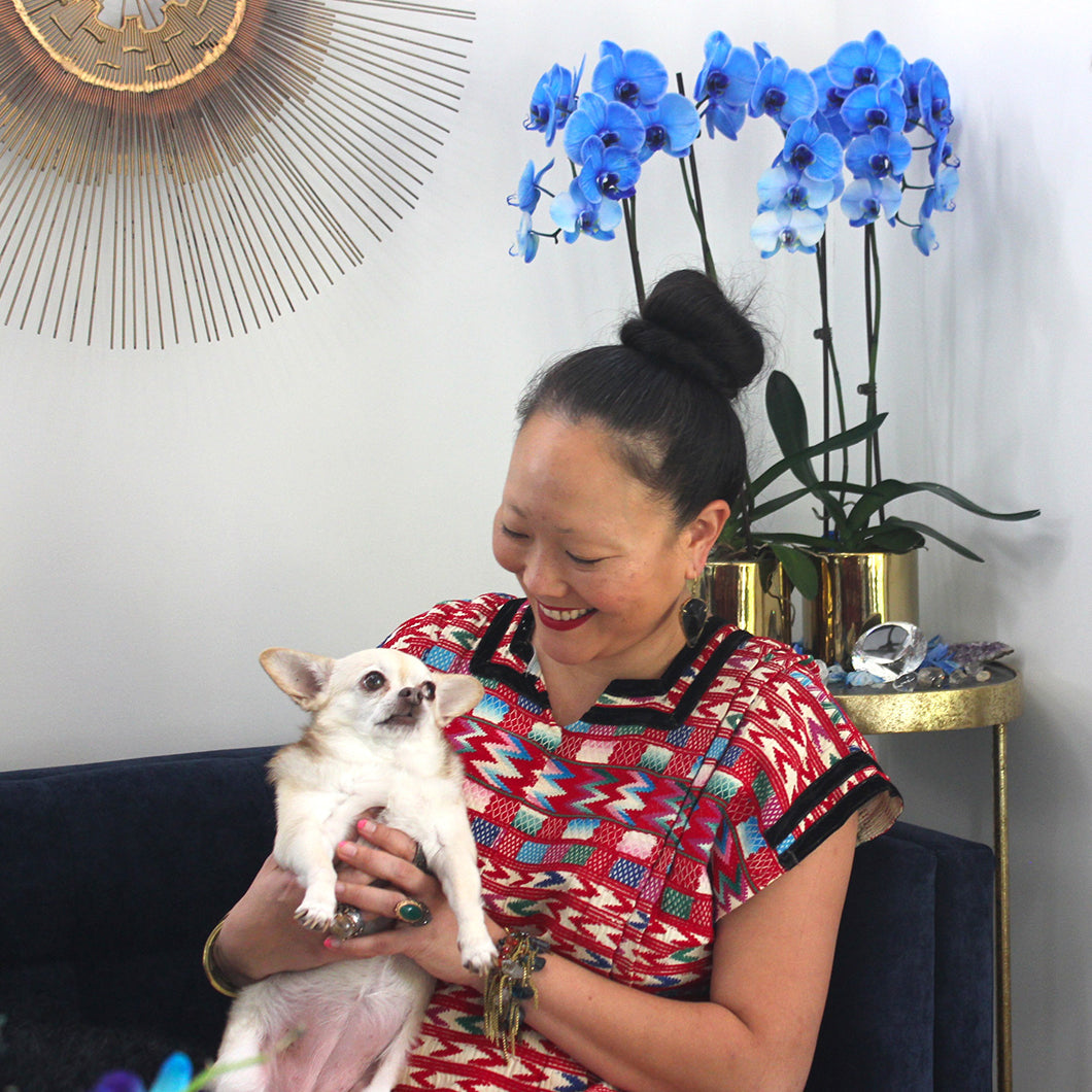 Rosa with her dog.