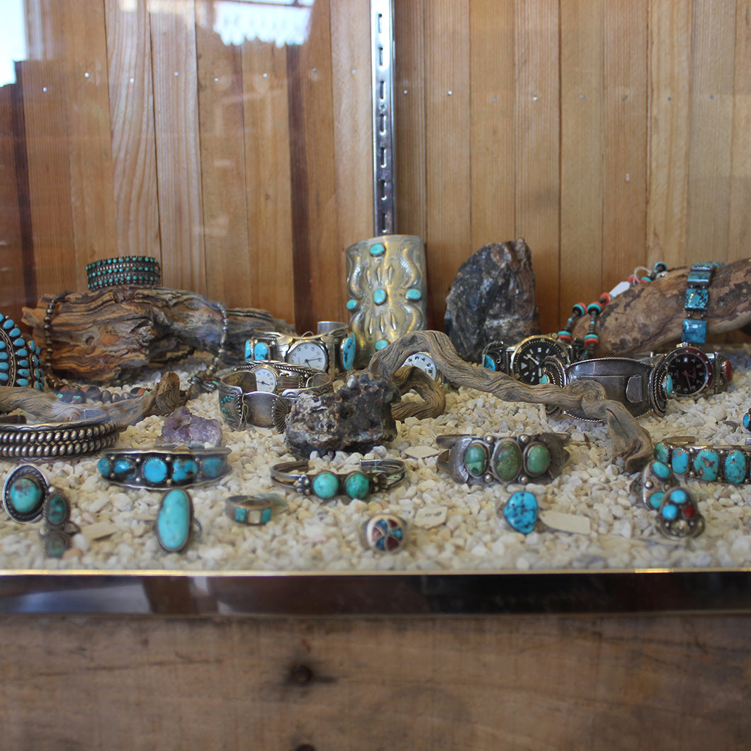 Collection of turquoise jewelry.