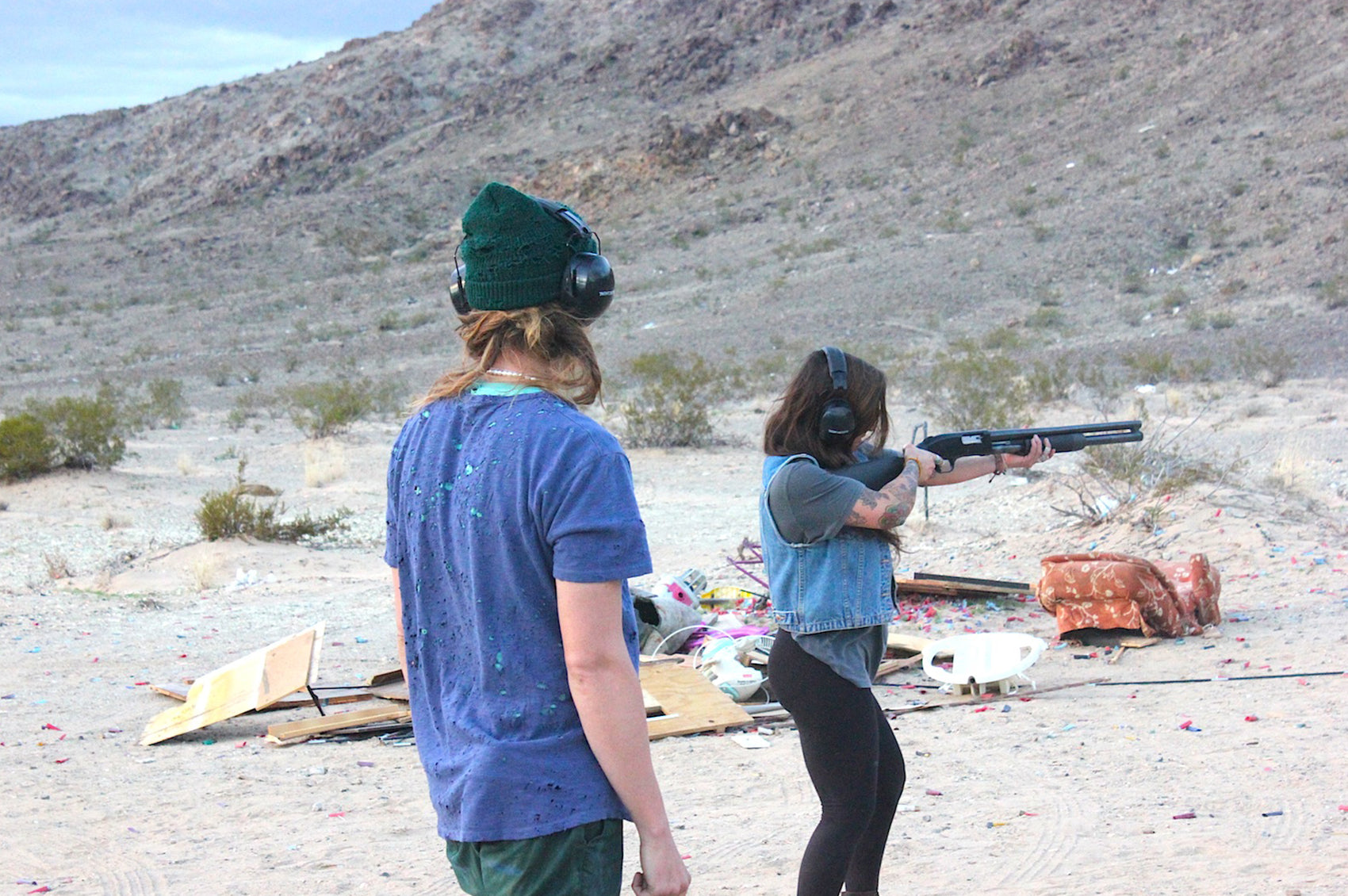 Shotgunning clothes in the desert.