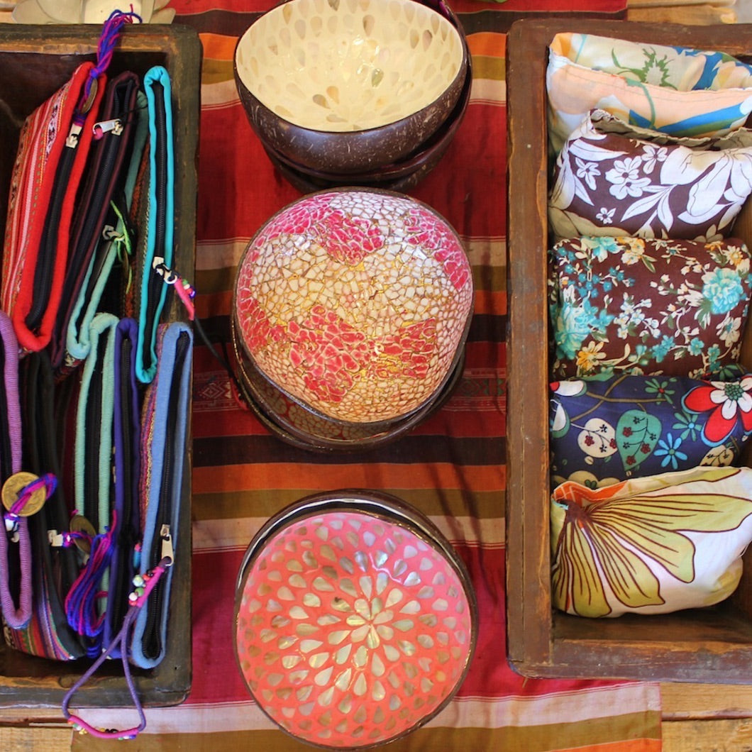 Assorted bags and bowls.