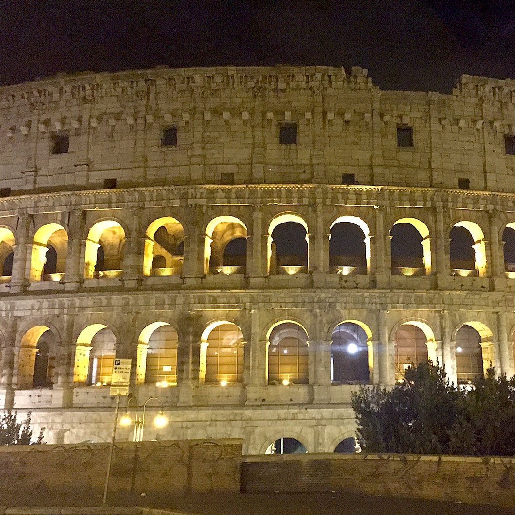 View of the Colosseum at night.