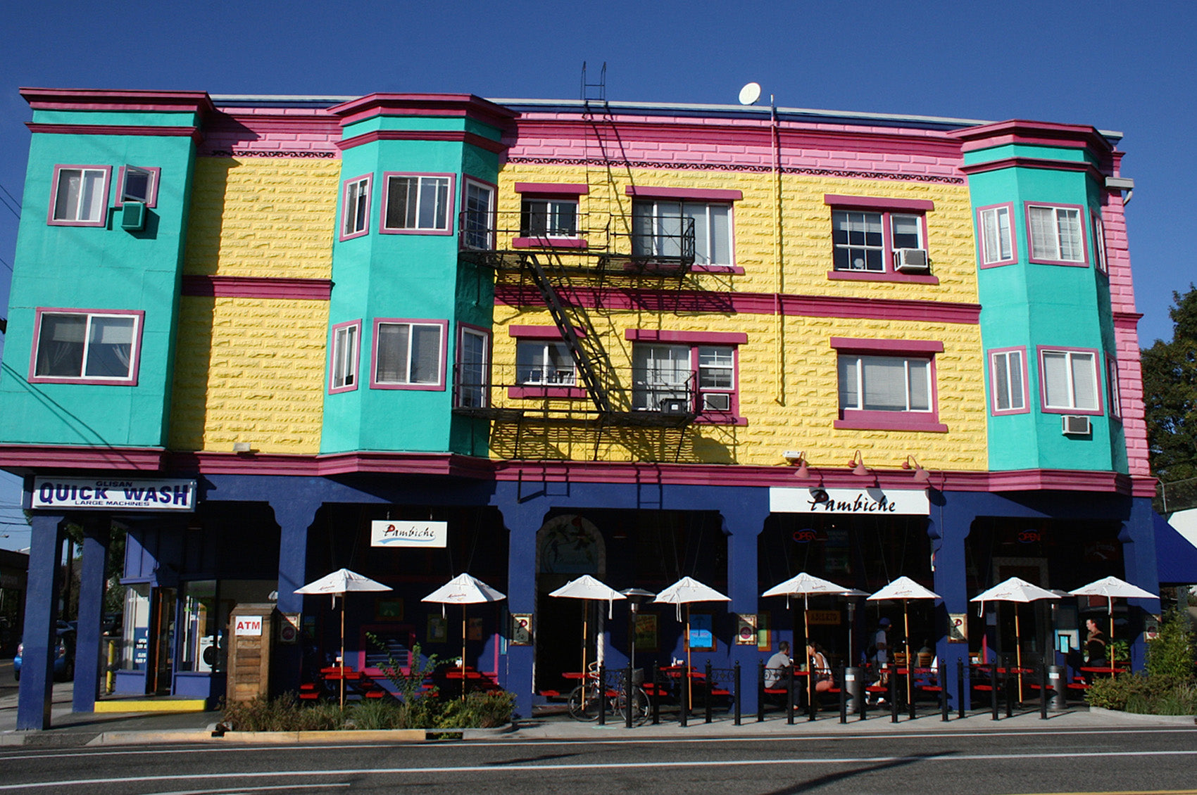 Exterior view of the colorful Pambiche restaurant.