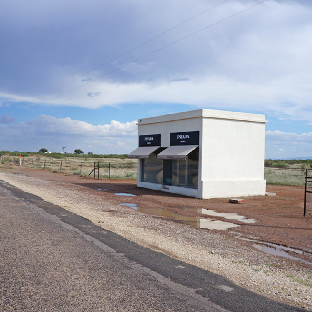 View from the highway of the Prada Store art installation oustide of Marfa.