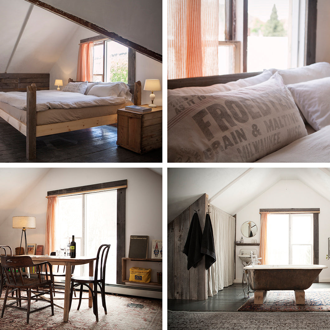 Four images display the bedroom, bathroom, and dining area of Table on Ten.