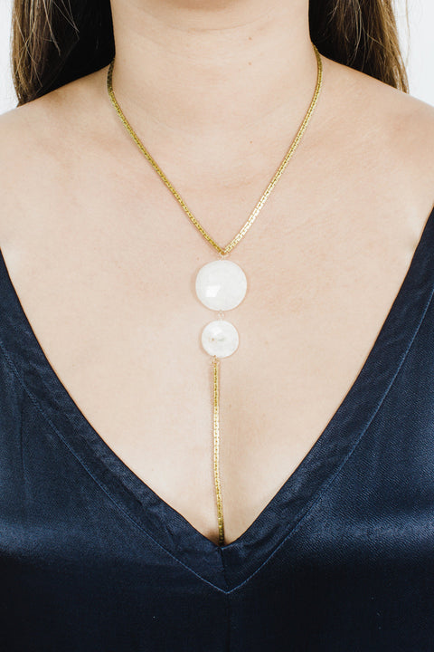 Solar Quartz Lariat Necklace