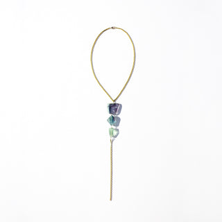 Rainbow Fluorite Lariat Necklace