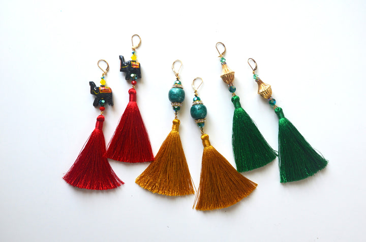Ganesha Tassel Earrings