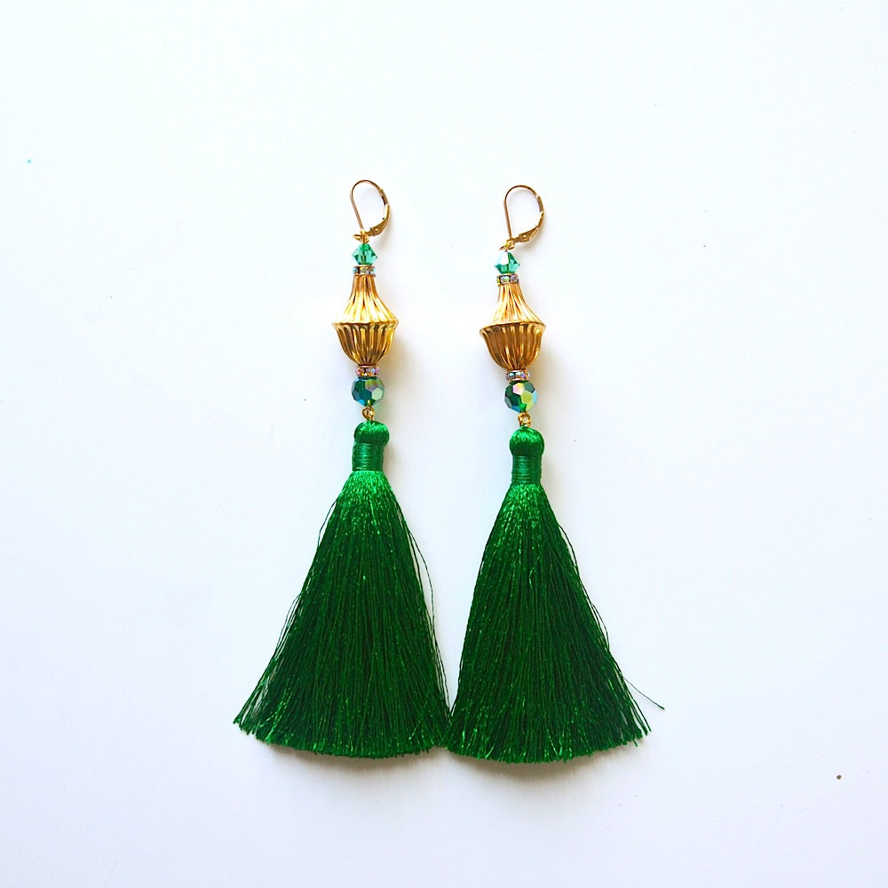 Rajasthan Emerald Tassel Earrings