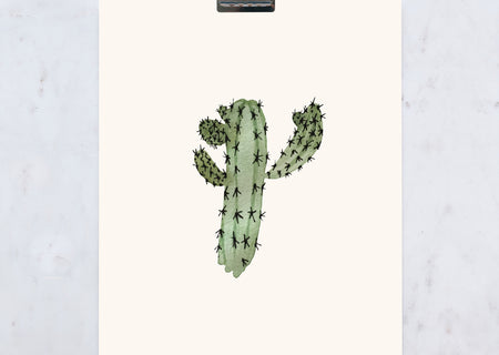 Blue Candle Cactus Print