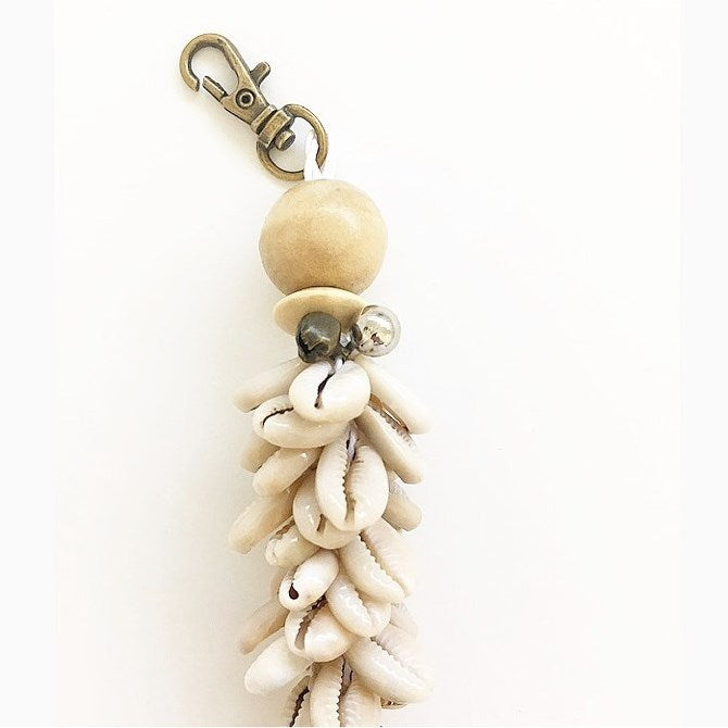 Cowrie Shell and Tassel Key Chain
