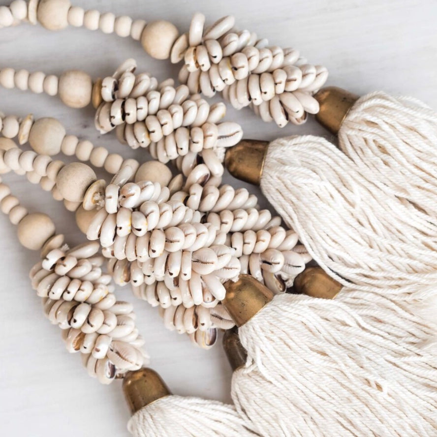Timber Bead & Cowrie Shell Tassel