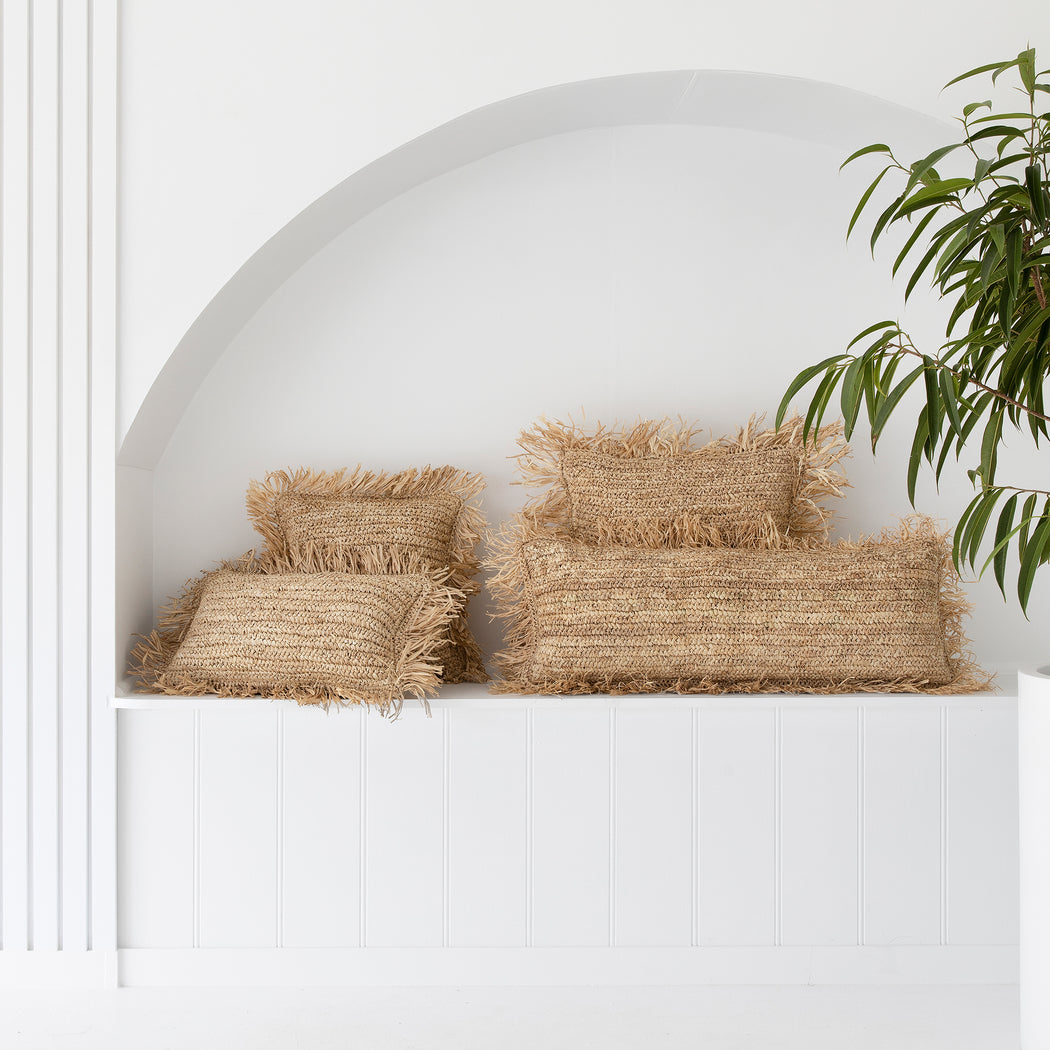 Cushion Cover | Fringed Raffia