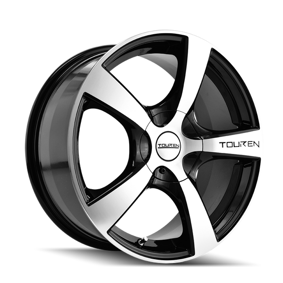 TOUREN 3190-7703M TR9 (3190) BLACK/MACHINED FACE/MACHINED LIP 17X7 5-100/5-114.3 42MM 72.62MM
