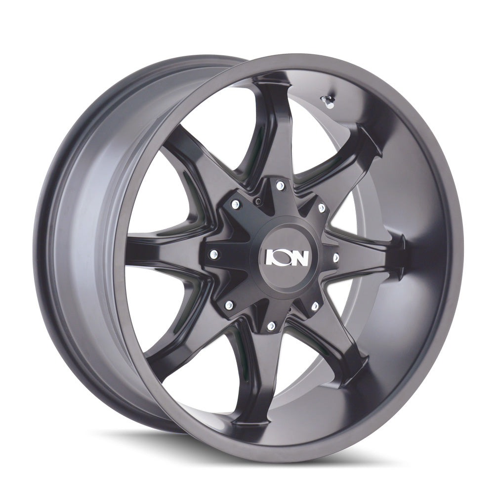 ION 181-8937M12 181 (181) SATIN BLACK/MILLED SPOKES 18X9 6-135/6-139.7 -12MM 108MM