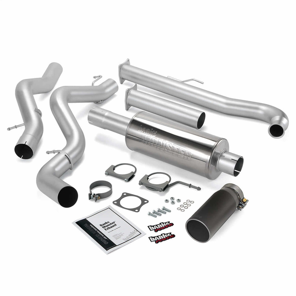 Banks Power 48630-B Monster Exhaust System; S/S-Black Tip-2001-04 Chevy 6.6L Ec/Cclb