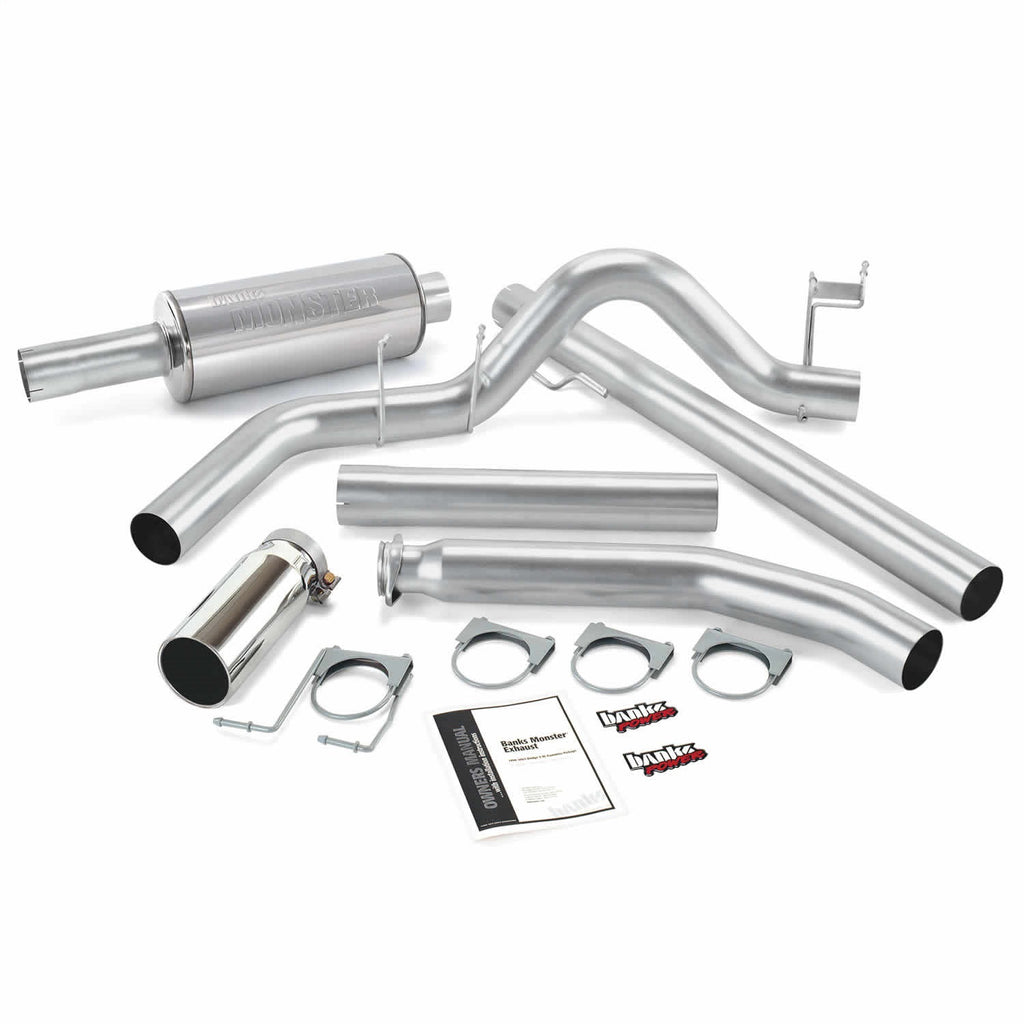Banks Power 48635 Monster Exhaust System; S/S-Chrome Tip-1998-02 Dodge 5.9L; Std Cab