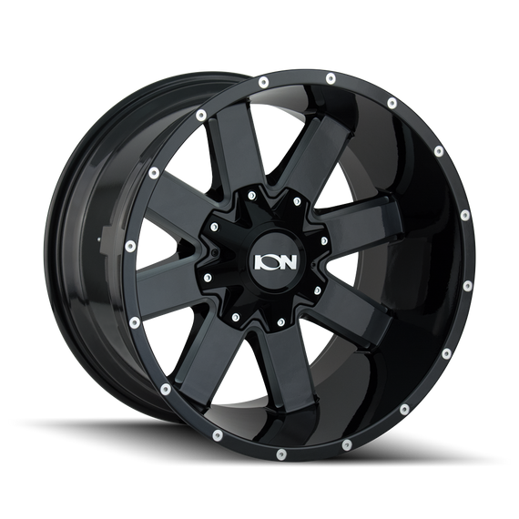 ION 141-2978M18 141 (141) GLOSS BLACK/MILLED SPOKES 20X9 8-180 18MM 124.1MM