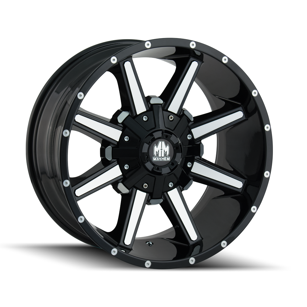 MAYHEM 8104-8976B18 ARSENAL (8104) GLOSS BLACK/MACHINED FACE 18X9 8-165.1/8-170 18MM 130.8MM