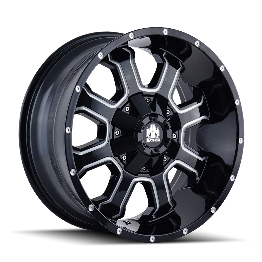 MAYHEM 8103-2976M18 FIERCE (8103) GLOSS BLACK/MILLED SPOKES 20X9 8-165.1/8-170 18MM 130.8MM
