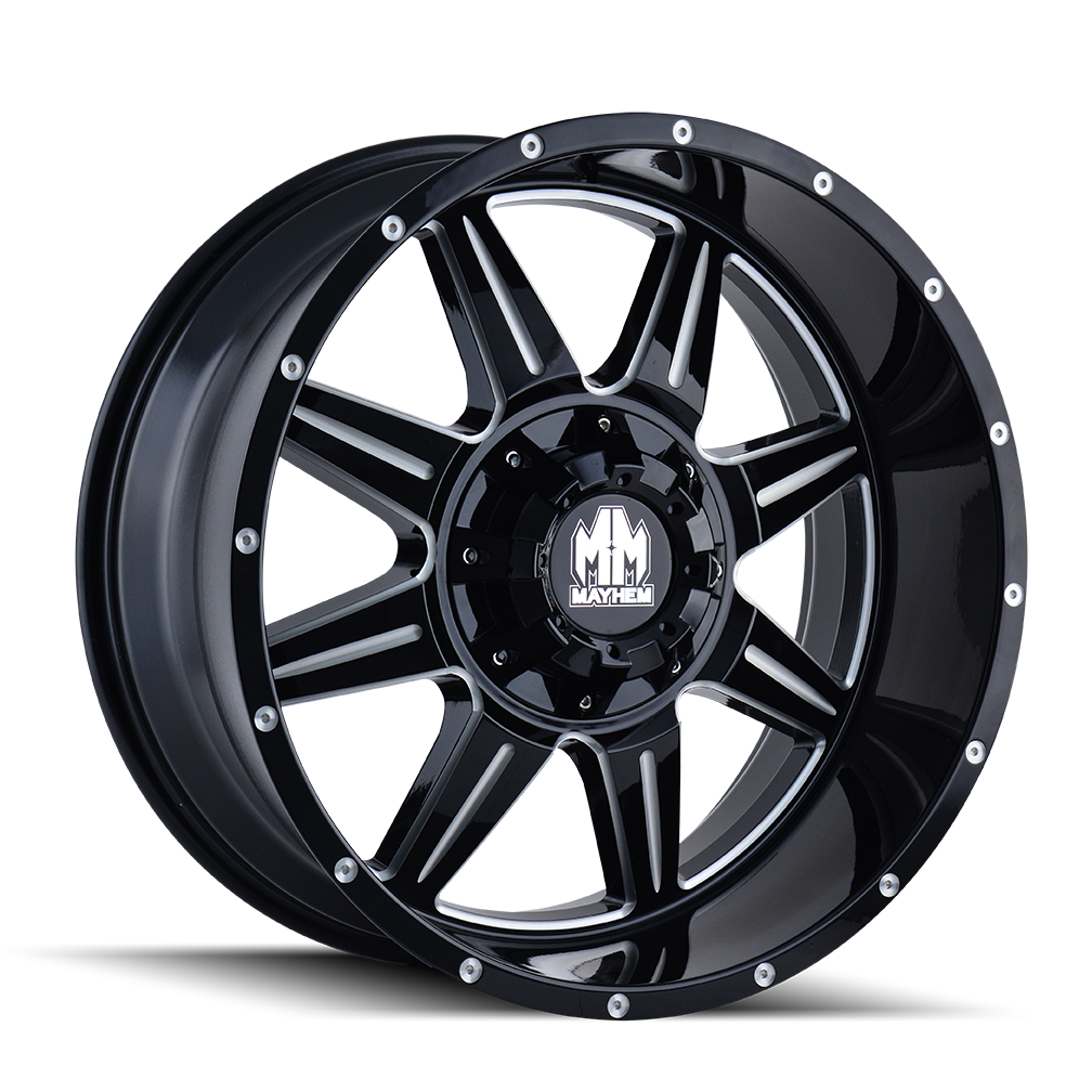 MAYHEM 8100-22137M MONSTIR (8100) GLOSS BLACK/MILLED SPOKES 22X10 6-135/6-139.7 -19MM 108MM