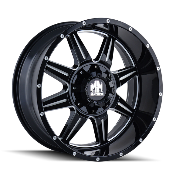 MAYHEM 8100-8937M MONSTIR (8100) GLOSS BLACK/MILLED SPOKES 18X9 6-135/6-139.7 0MM 108MM