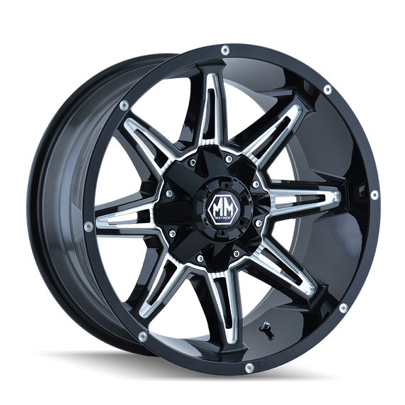 MAYHEM 8090-8978M RAMPAGE (8090) BLACK/MILLED SPOKES 18X9 8x180 -12MM 124.1MM