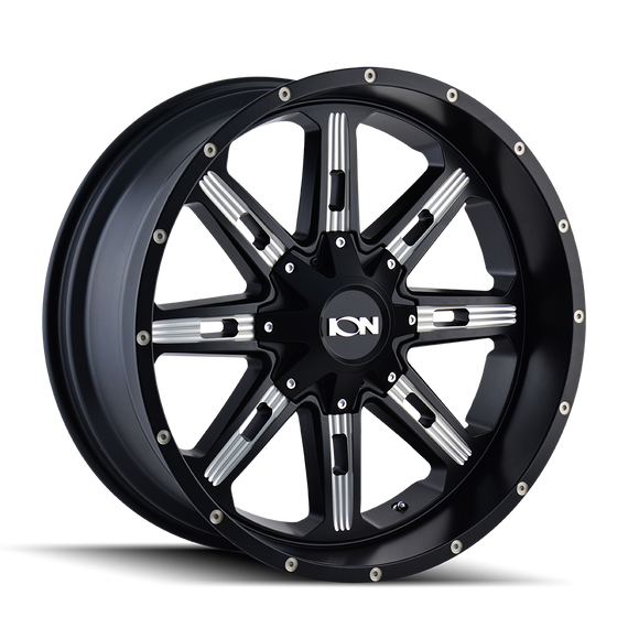 ION 184-2976M18 184 (184) SATIN BLACK/MILLED SPOKES 20X9 8-165.1/8-170 18MM 130.8MM