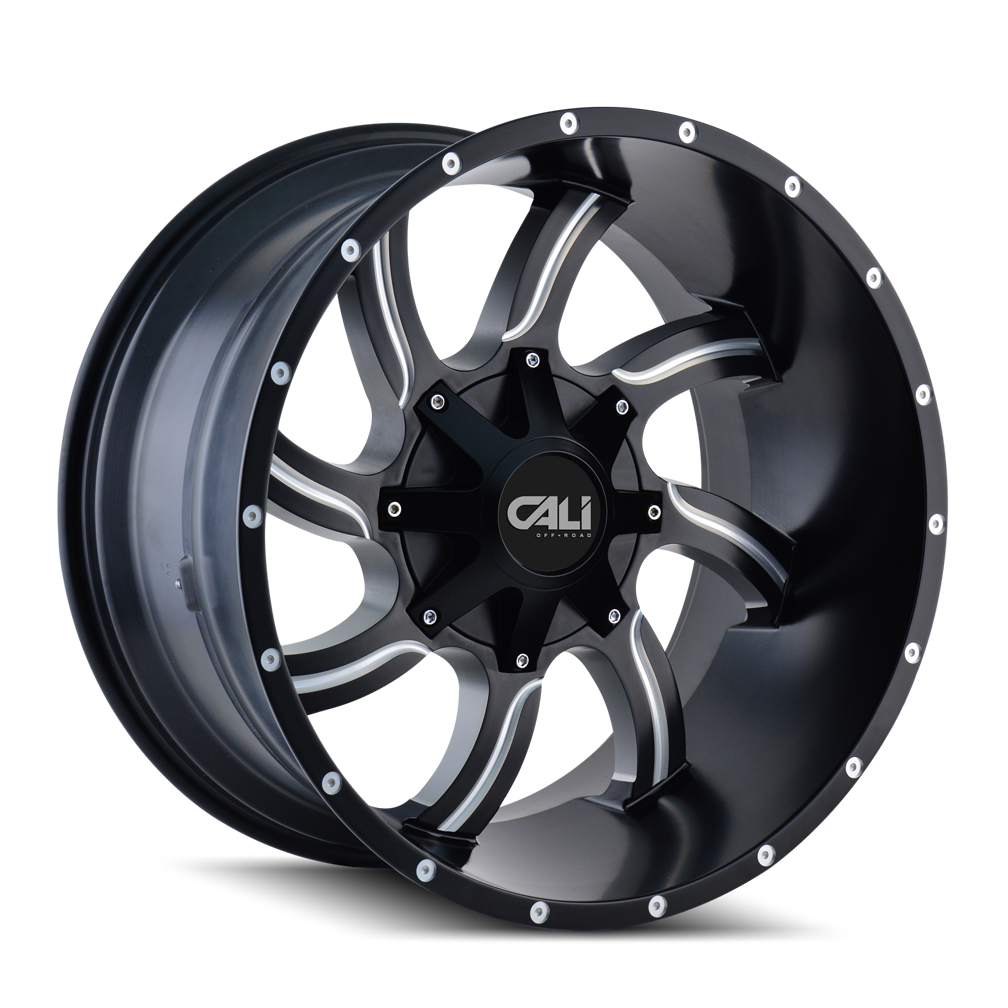 CALI OFF-ROAD 9102-2976M0 TWISTED (9102) SATIN BLACK/MILLED SPOKES 20X9 8-165.1/8-170 0MM 130.8MM