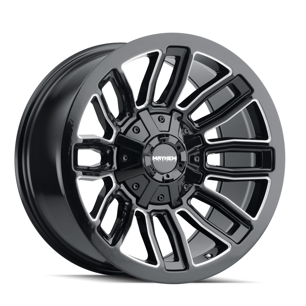 MAYHEM 8108-2176BM DECOY (8108) GLOSS BLACK/MILLED SPOKES 20X10 8-165.1/8-170 -19mm 130.8mm