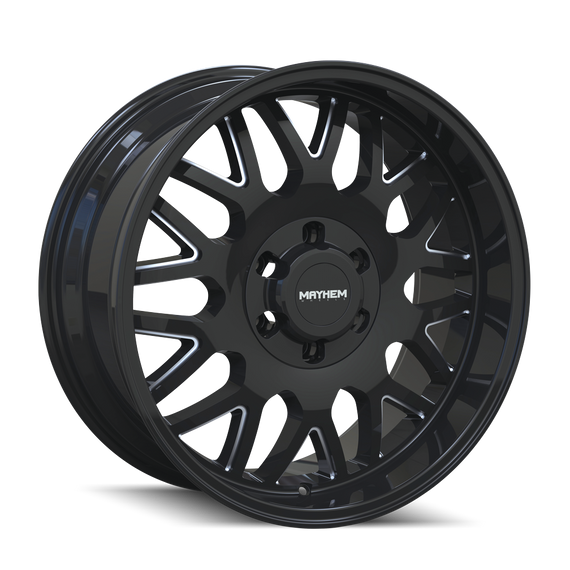 MAYHEM 8110-2170BM TRIPWIRE (8110) GLOSS BLACK/MILLED SPOKES 20X10 8-170 -19mm 130.8mm