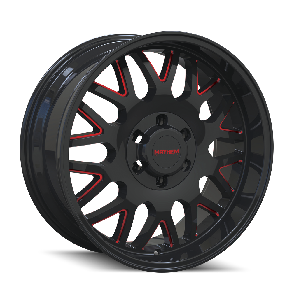 MAYHEM 8110-2936BTR18 TRIPWIRE (8110) BLACK W/PRISM RED 20X9 6-135 18mm 87.1mm