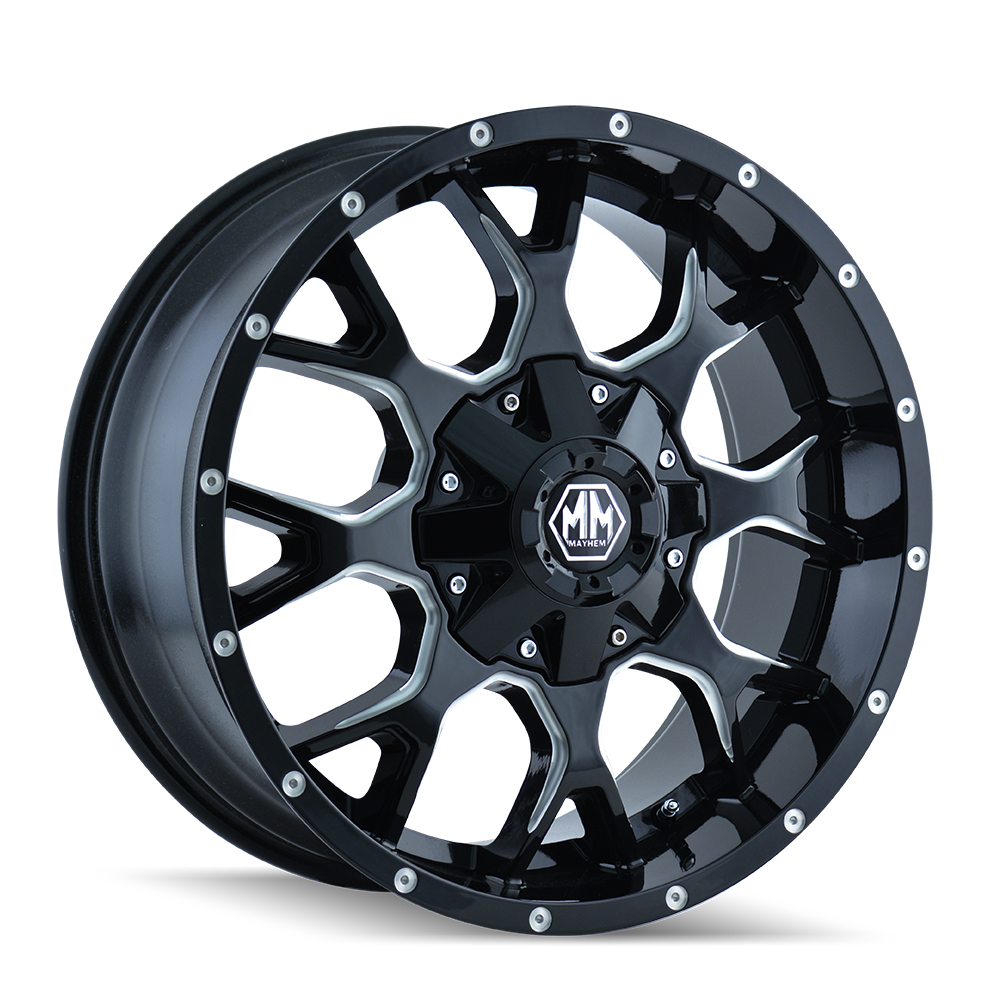 MAYHEM 8015-8994M18 WARRIOR (8015) BLACK/MILLED SPOKES 18X9 6-120/6-139.7 18MM 78.1MM