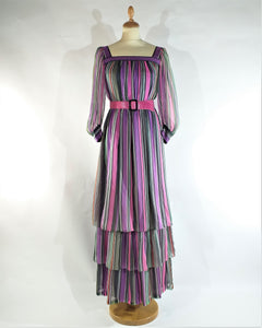 robe longue en mousseline de soie '1970 long dress of silk mousseline