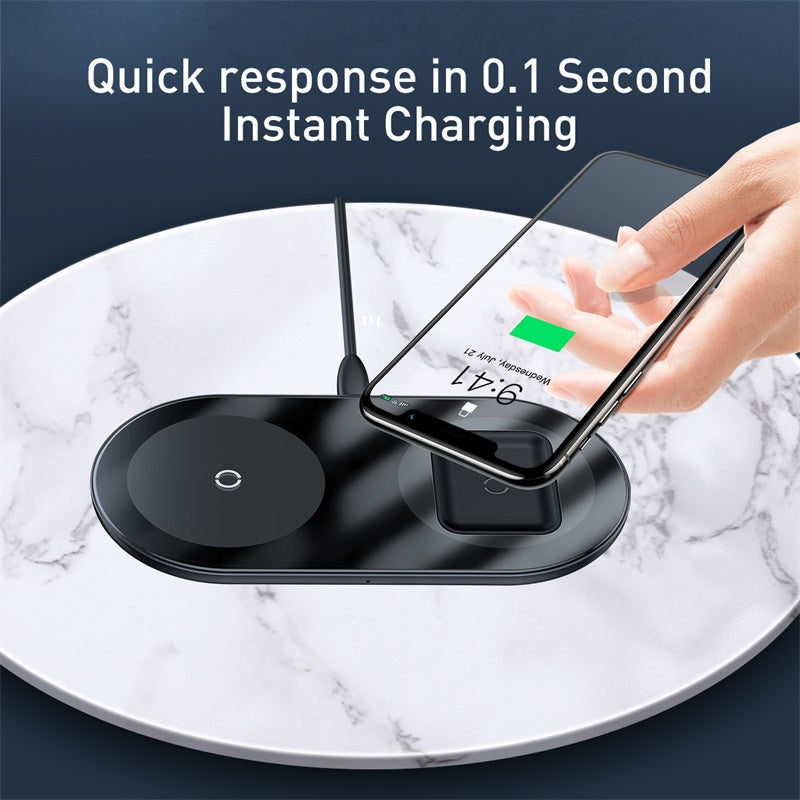 Baseus 2 in 1 Wireless Charger 18W Max For Phones+Pods Black
