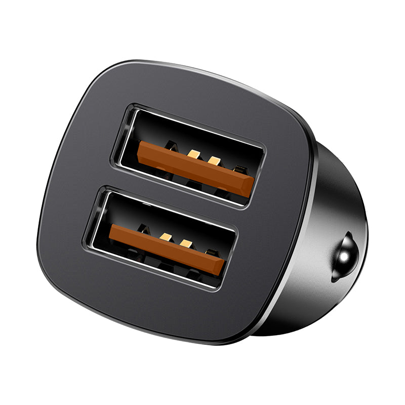 Baseus  Square metal A+A 30W Dual QC3.0 Quick Car Charger(QC 3.0, SCP, AFC) Black