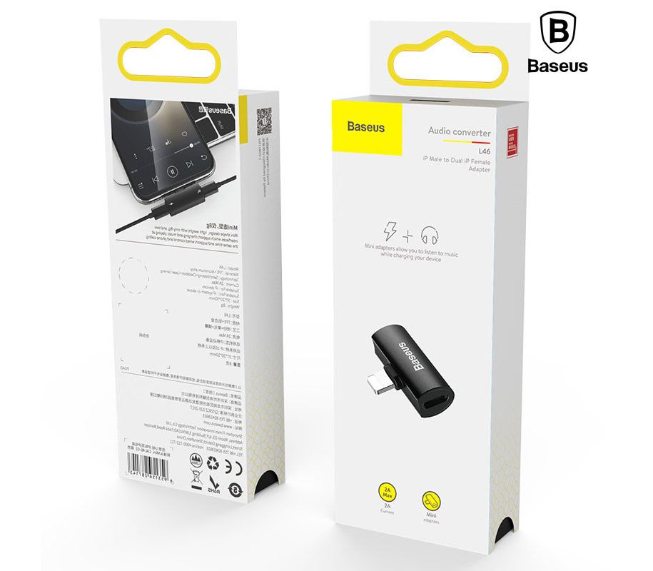 Baseus iP Male to Dual iP Female Adapter L46 Black
