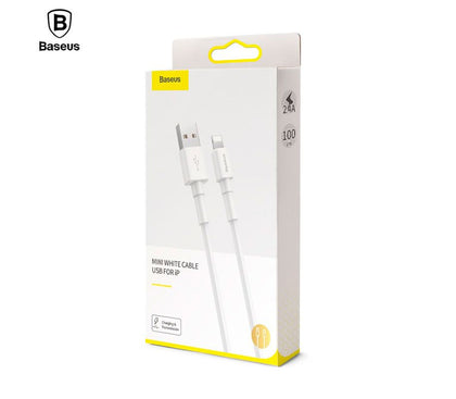 Baseus Mini White Cable USB For iPhone 2.4A 1m White - TechBeans Inc.