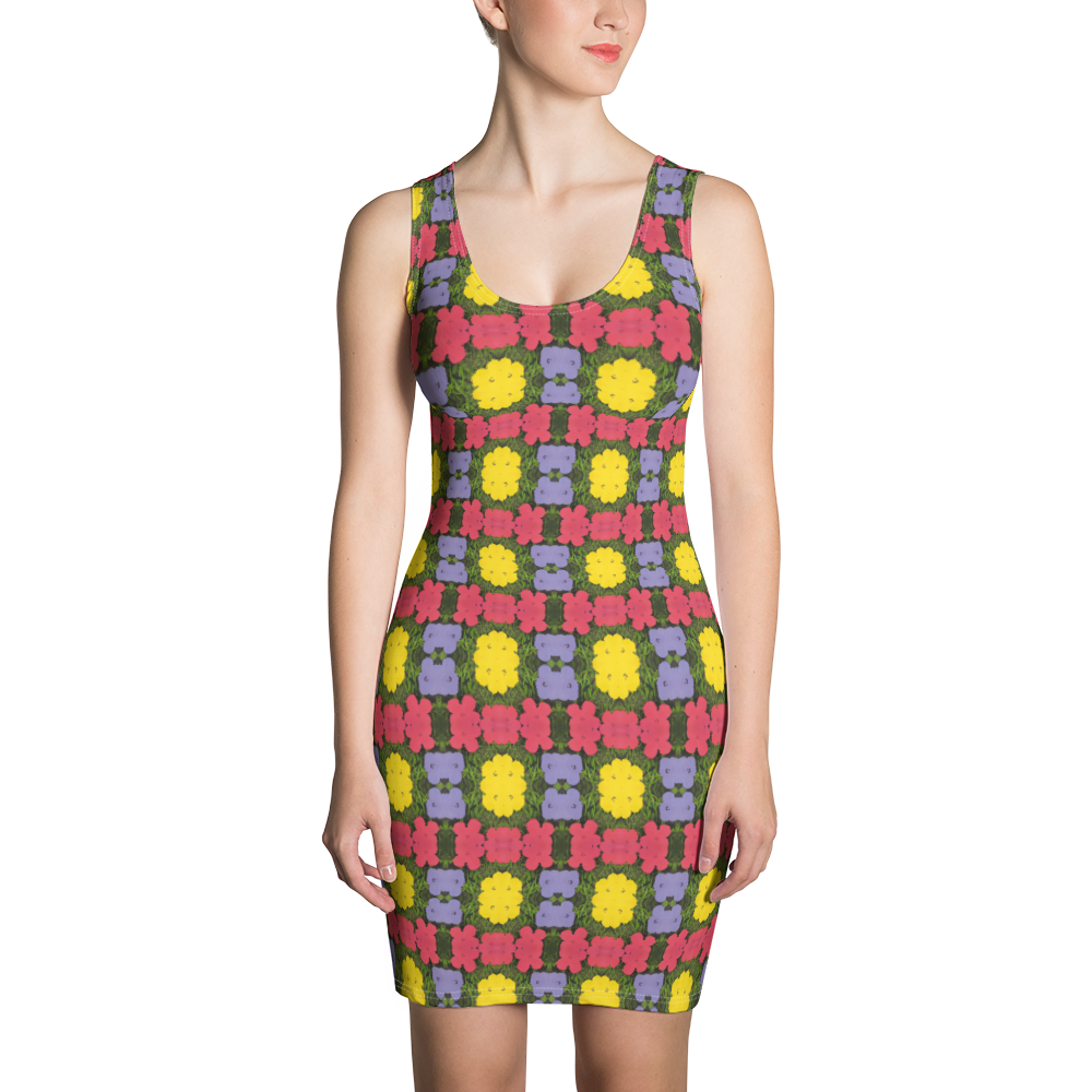 Andy Warhol Inspired Flowers Fitted Dress - Pittsburgh Creations