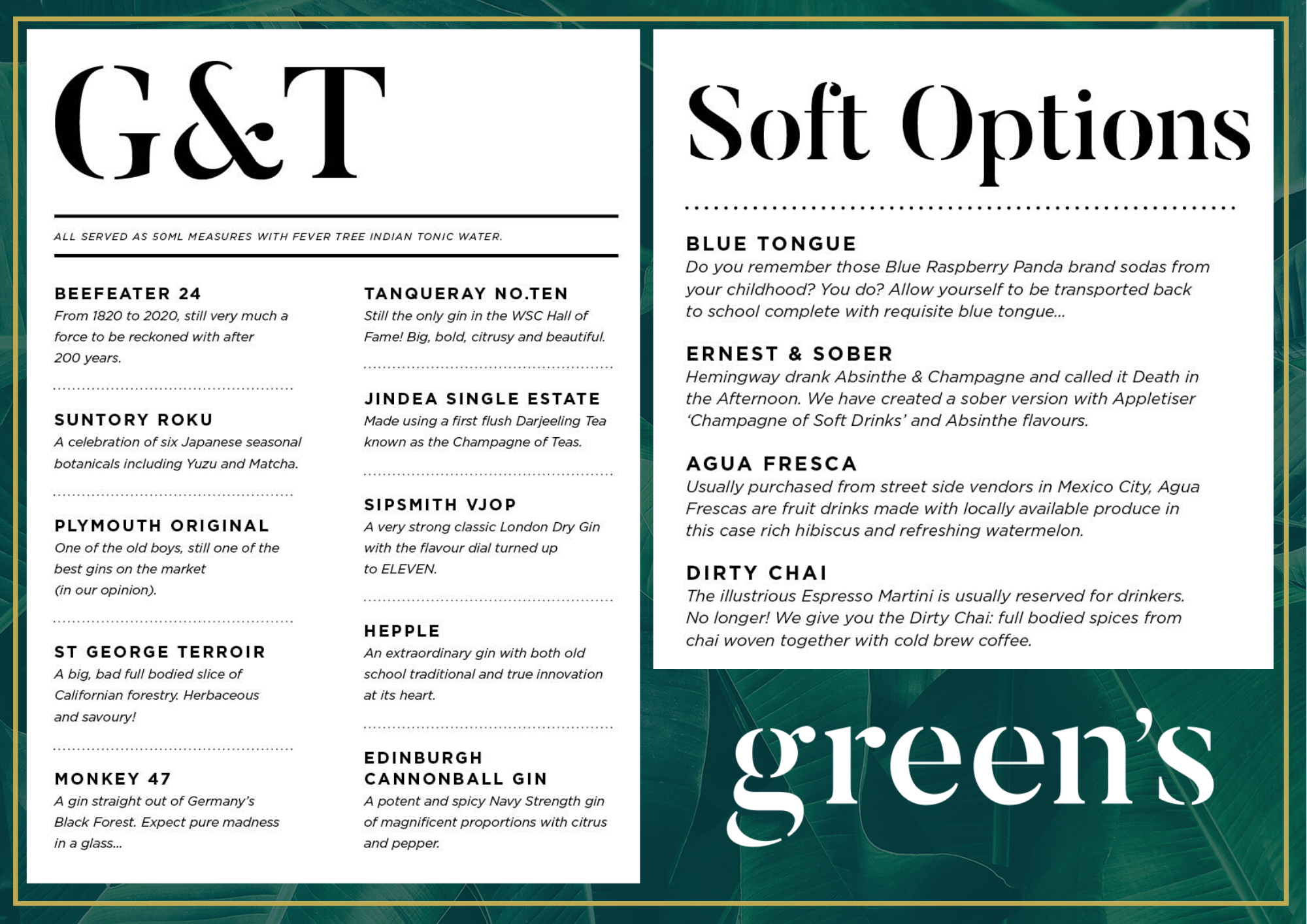 Gin & Tonic and Soft Options