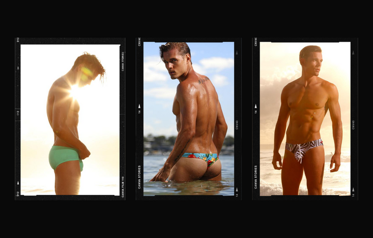 Collage of Cocksox mens swimwear briefs and thongs