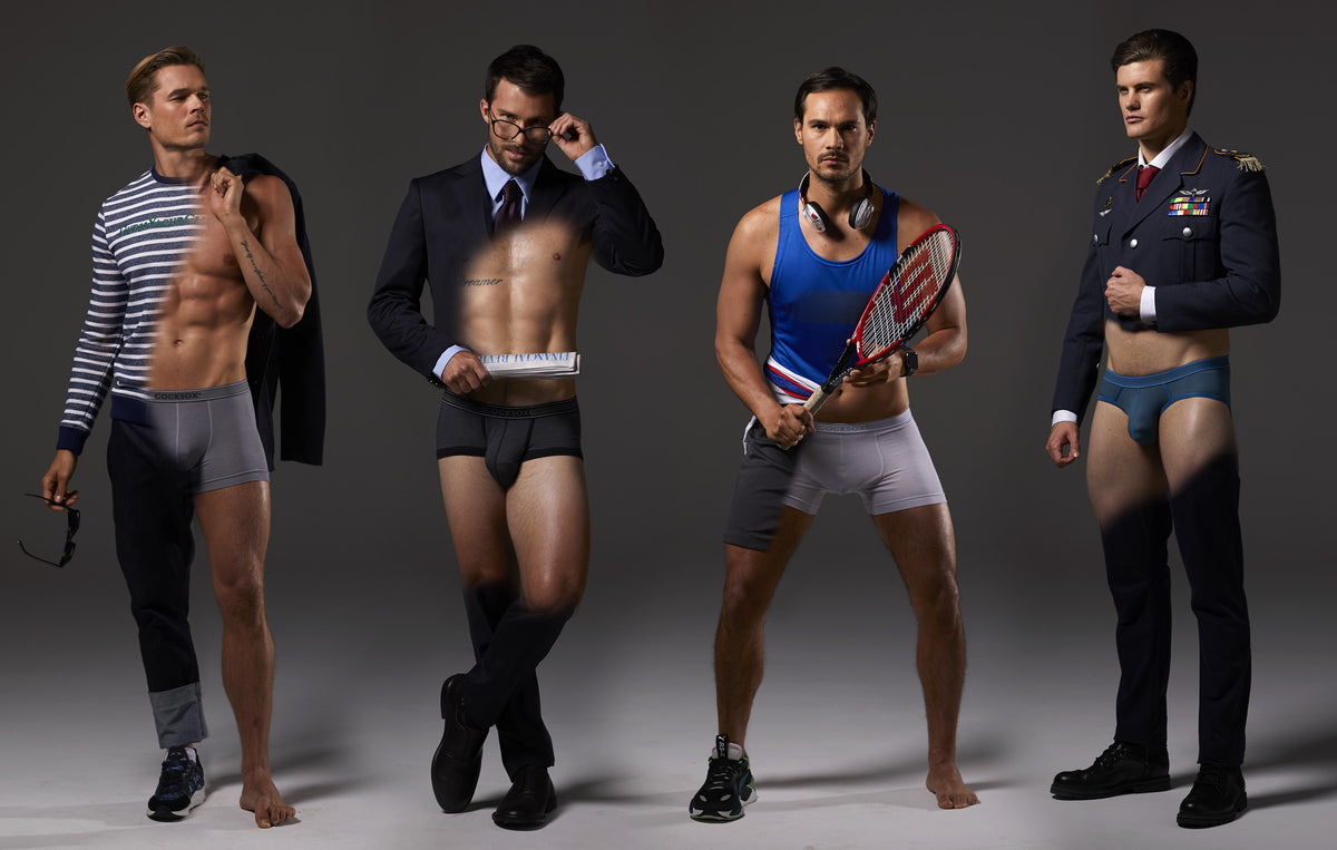 Lifestyle editorial image featuring various products from the Cocksox Pro underwear collection