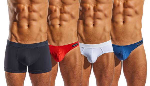 Collage of catalogue images from the Cocksox Always men's underwear collection