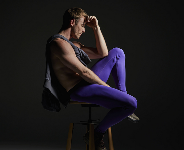 Lifestyle editorial image featuring Cocksox CX92 Ecology Collection men's underwear long johns in Dusk