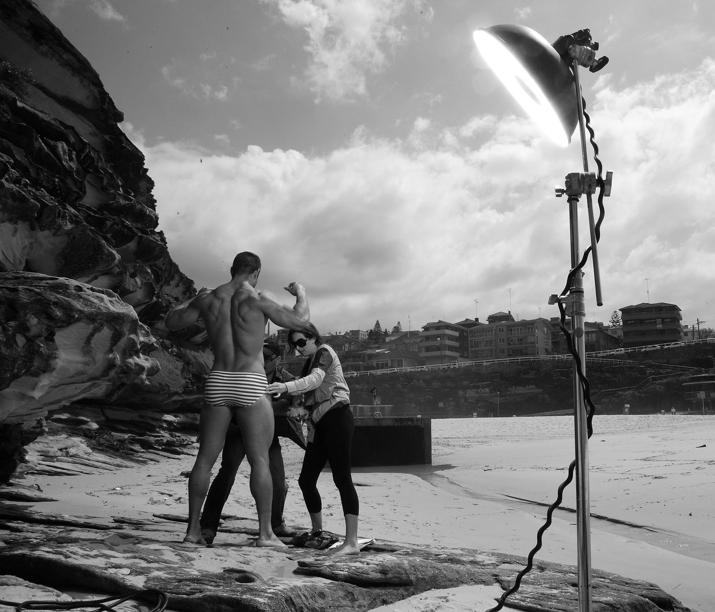 Cocksox behind the scenes image from swimwear photoshoot at Tamarama Beach in Sydney