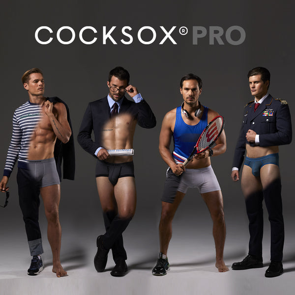 Lifestyle editorial image featuring multiple styles from the Cocksox Pro underwear collection