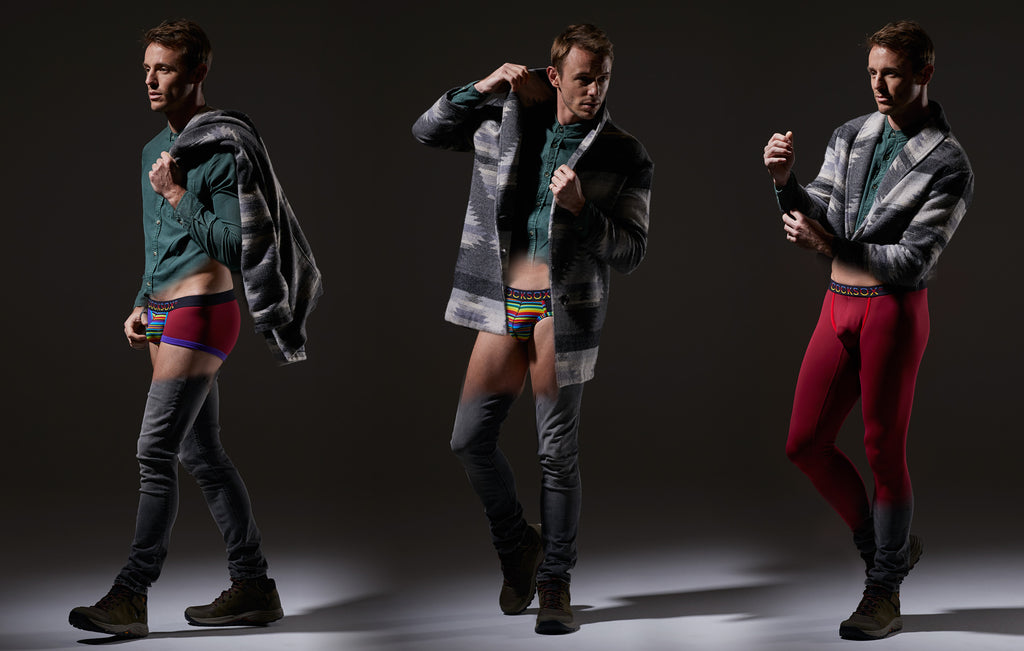Lifestyle editorial image featuring multiple Cocksox Ecology Collection men's underwear